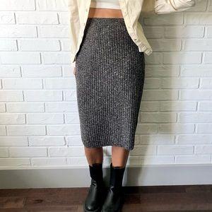 Max Studio ribbed knit grey midi pencil skirt S